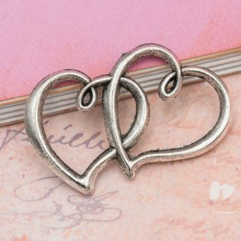 Metal Heart Connector Charms for Bracelets, Antique Silver, Double Heart pendants -C1120