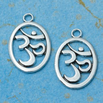 Metal  Ohm Charms, 18pcs, 18x15mm,  Silver   Pendant,  Yoga om   -C1081
