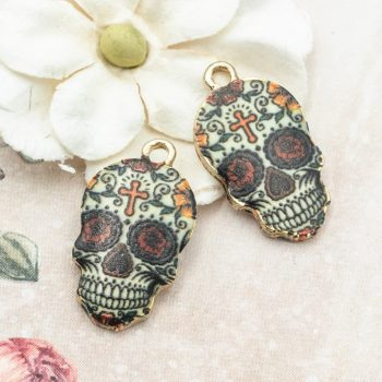 Skull Charms, Halloween Pendant, 18x13mm,  Skull With Cross Pendant  -C1092