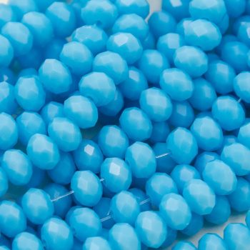 Blue Crystal  Beads, 6x4mm, 17 Inch Strand,   Faceted Glass,  Jewelry Beads -B65