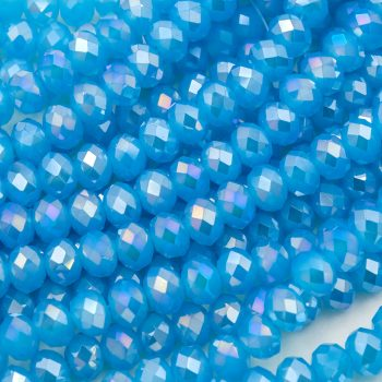 Glass Crystal Beads, Faceted round blue beads, 8x6mm, 16 Inch Strand  -B42