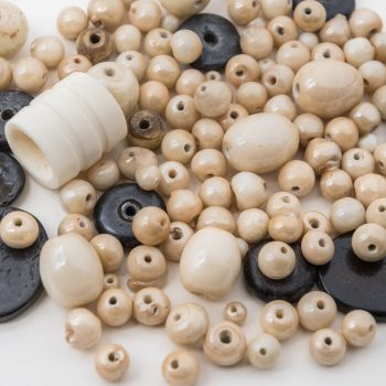 Glass Wood Bead  Mix, 3.5 Oz Bag, India  Glass Beads, Natural Tones -B2203