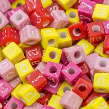 Letter Beads,  Alphabet Beads, Cube Beads, 6mm, 250  Pieces, Vintage Colors -B60