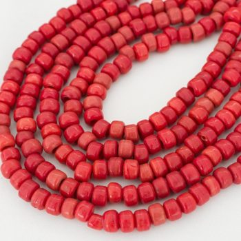 Orange Red Glass Crow Beads, 100 Pieces,   9x7mm, 3mm Hole,    Pony  Beads  -B2406