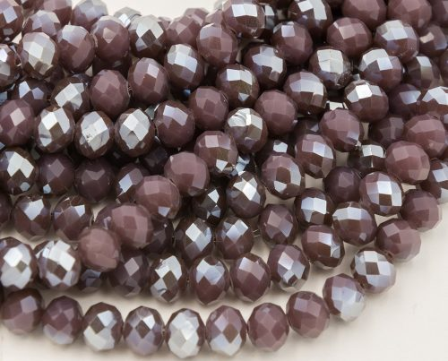 Purple Glass Crystal Beads 10x6mm, 22 Inch Strand,  AB Finish, Electroplated Beads -B74