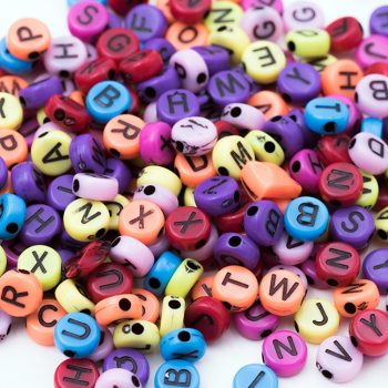 Round  Acrylic Letter Beads, 150pcs, 7mm,  Mixed Colors,   Abc   Beads -B2323