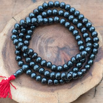 Dark Brown Bone Beads with tassel,  108 mala Beads,    33 inch Strand,   Dyed cowbone Beads -B847