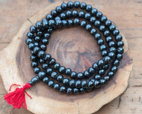 Dark Brown Bone Beads with tassel,  108 mala Beads,    33 inch Strand,   Dyed cowbone Beads -B847