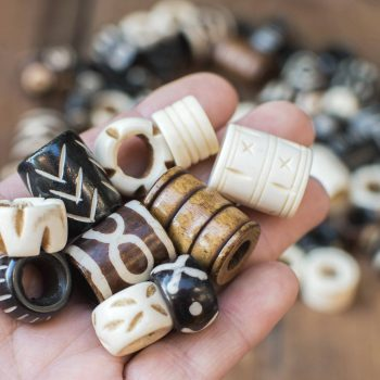 Large Hole Bone Beads, 15-25mm, 10pcs, Cow Bone Beads, hand Carved  -BN83