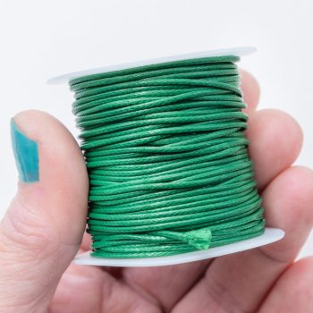 Green Waxed Polyester Cord,  1mm, 10 Meter Roll, Jewelry Cord