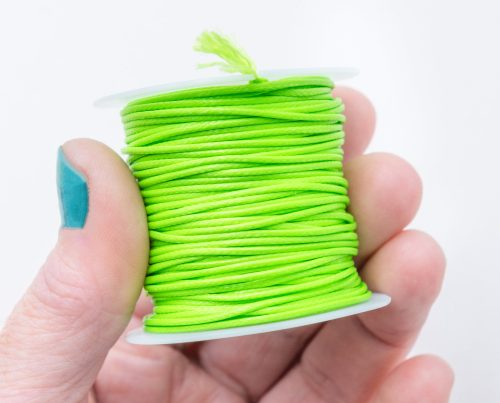 Waxed Polyester Cord, Lime Green, 1mm, 10 Meter Roll, Jewelry Cord