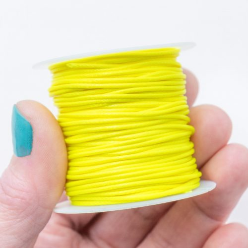 Waxed Polyester Cord, Yellow, 1mm, 10 Meter Roll, Jewelry Cord