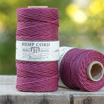 Hemp Cord 2mm,   205 feet,  48lb, Burgundy, Thick Hemp Twine,  1 Spool