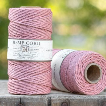 Hemp Rope  2mm,   205 feet,  48lb, Vintage Pink, Thick Hemp Cord,  1 Spool