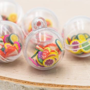 Tropical Fruit Pendant, Plastic Ball Cage, Mixed Colors, 20mm 5pcs - B2269