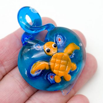 Turtle Pendant, Large Glass Pendant, 55x40mm, Beach Pendant, 6mm Loop -P366