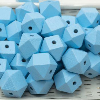Large Blue Polygon wood beads,  20mm,   3mm hole, painted wood, 20pcs -B2305