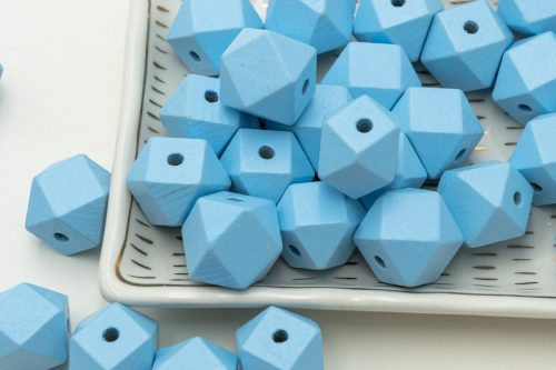 Large Blue Polygon wood beads,  20mm,   3mm hole, painted wood, 20pcs -B2305