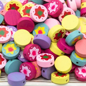 Round Flower  wood beads,  16x6mm,   1mm hole, painted wood, 40pcs -B2306
