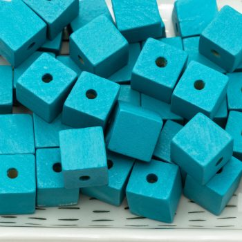 Turquoise Wood Cube,   Painted,  30pcs,  20mm, 3mm Hole - B2307