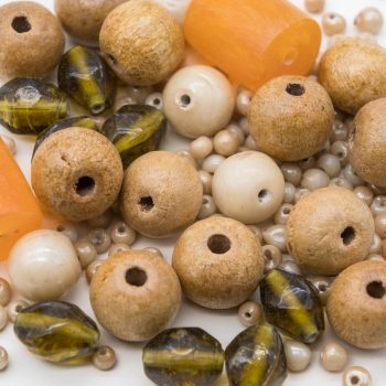 Wood  Glass Bead Mix, jewelry making beads, 2.5 oz Bag  -B2204
