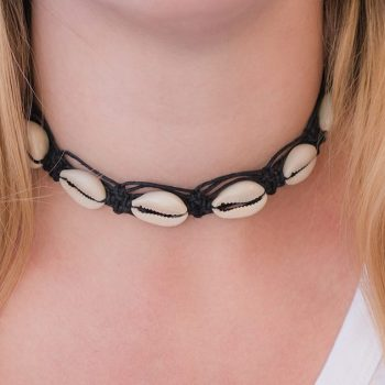 black cowrie shell hemp choker