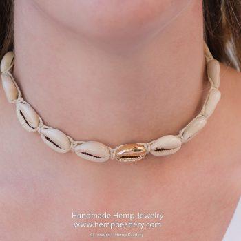 gold cowrie shell hemp necklace
