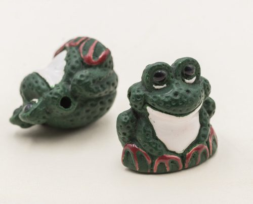 Frog   Pendant, 2pcs, 23x20mm,   Clay Beads, Dark Green Painted   -R143
