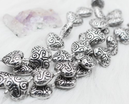 Silver Heart Beads,   Acrylic metal look, Size 21x 18mm, 2mm Hole, valentines day   -B2263