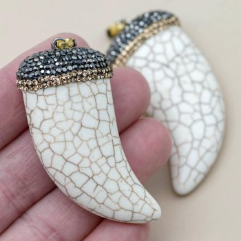 White Tusk Pendant, Howlite beads,  rhinestone cap, boho style  55x25mm  -P364