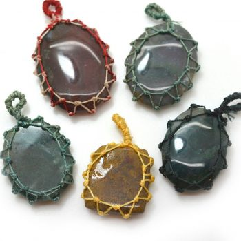 Wrapped Stone Pendants, 5pcs, Mixed Sizes, Tumbled Stone, Macrame Knotted Stones - P23