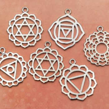6 Chakra Pendants, Symbol Charms,  yoga jewelry charm -metal findings -C737