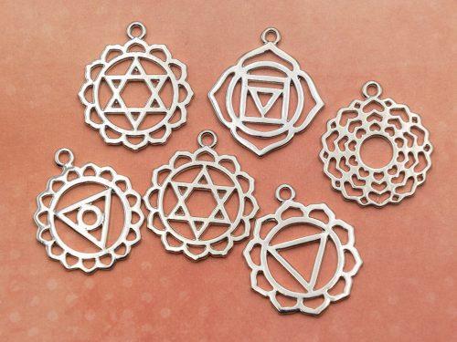 6 Chakra Pendants, Symbol Charms,  yoga jewelry charm -metal findings -C737