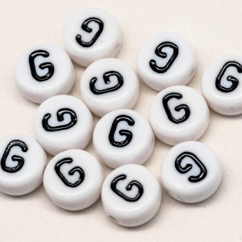 Alphabet  Beads, G, 12pc,  7mm,  Round  Beads, plastic Beads -B2119