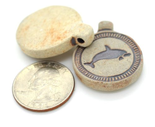 Dolphin  Necklace  Pendant, handcrafted raku beads, round shape - 2 pieces  -R161
