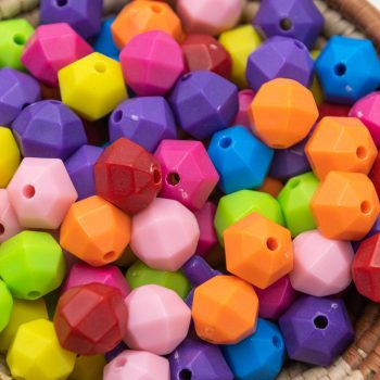 Faceted Round  Spacer Beads, Plastic, 12x7mm, 65pcs,  mixed Color,  2mm  -B2718