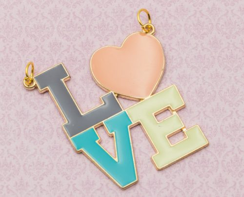 Large LOVE Enamel Pendant,  Gold Tone Valentines Day Charms,  Jewelry Findings,   1pc, 45mm  -C293