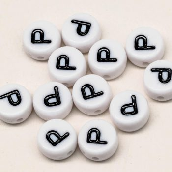 Letter Beads, P, 12pc,  7mm,  White  Beads, Alphabet Beads -B2123