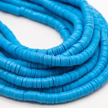 Polymer Clay Disc Beads,  6x1.5mm,  Spacer Beads,  17 Inch Strand, 2mm Hole, Blue -B1113