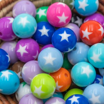 Round Acrylic Star Beads, 15mm, 25pcs,  mixed Color,  jewelry Beads  -B2715