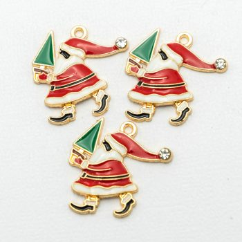 Santa Claus  Charms with rhinestone and enamel,   Holiday Pendant,  Christmas tree, 3 pieces  -C1138