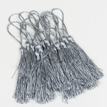 15 Gray Jewelry Tassels, silk polyester trim,  3 1/2 Inch,  Tassels with string -TA43