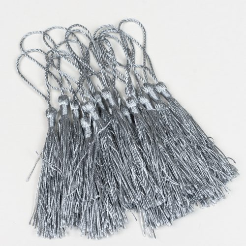 15 Gray Jewelry Tassels, silk polyester trim,  3 1/2 Inch,  Tassels with string -TA43