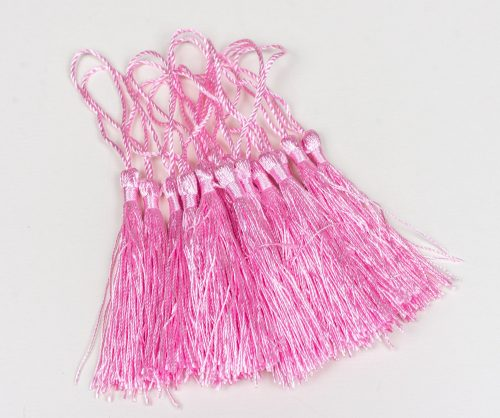 15 Pink Tassels for jewelry, 3 1/2 inch  long tassel with string, silk polyester material