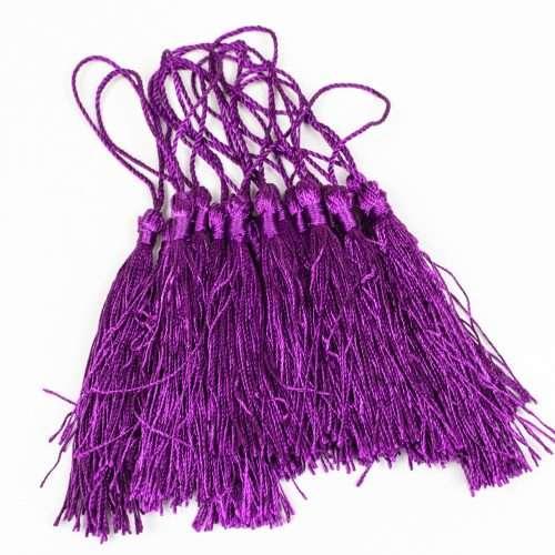 15 Purple Jewelry Tassels with string, pillow trim, sewing tassel,  3 1/2 Inch   -TA51