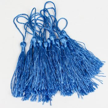 15 Tassels with string, royal blue trim, pillow tassels   3 1/2 Inch   -TA50