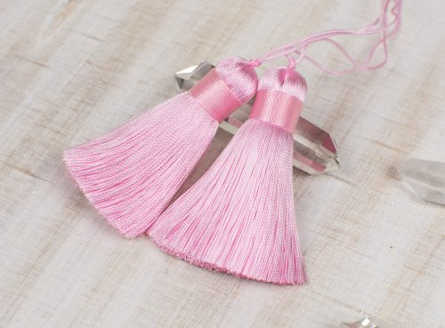 2 Short Thick Silk  Tassels,   2 1/4 Inch  Jewelry Tassels,   Tassels for malas -TA57