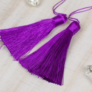 2 Silk Tassels   3 Inch, Purple  Jewelry Tassels with 6 inch string, craft supply  -TA60
