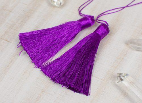 2 Silk Tassels   3 Inch, Purple  Jewelry Tassels with 6 inch string, craft supply  -TA60