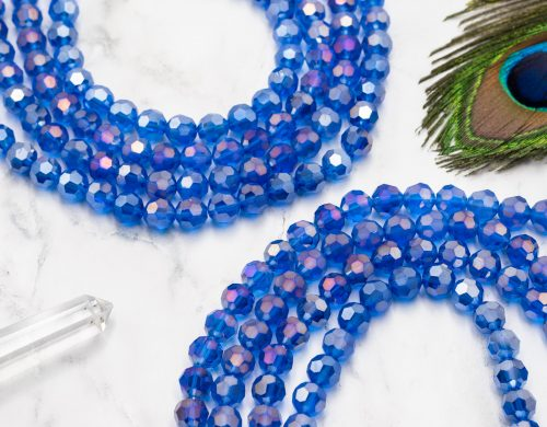 Glass Crystal Beads 9mm, round blue faceted  26 Inch Strand, jewellery supply  -B970